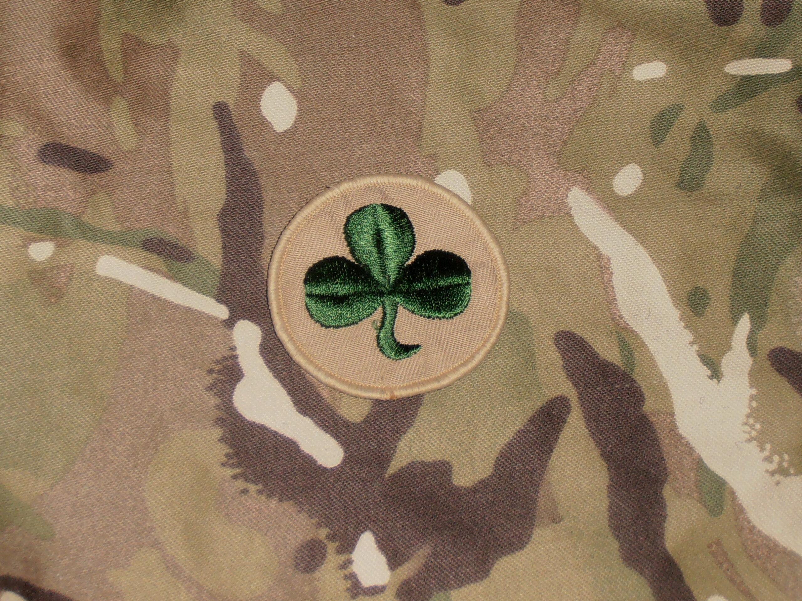 38th Irish Brigade TRF Desert Beige Shamrock Military Cloth Patch Badge